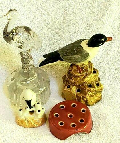 4pc LOT R Vtg BIRD Art Deco Flower frogs SIGNED Marked Japan luster pottery