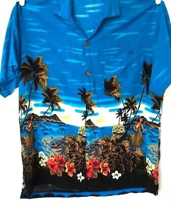 Hawaiian Shirt Men Size L Blue Ocean Palm Trees Hoola Dancer Tropical Flowers  for sale  Shipping to India