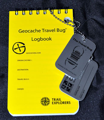 Geocache Travel Bug and Travel Bug Logbook Set