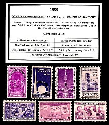 1939 COMPLETE YEAR SET OF MINT -MNH- VINTAGE U.S. POSTAGE STAMPS