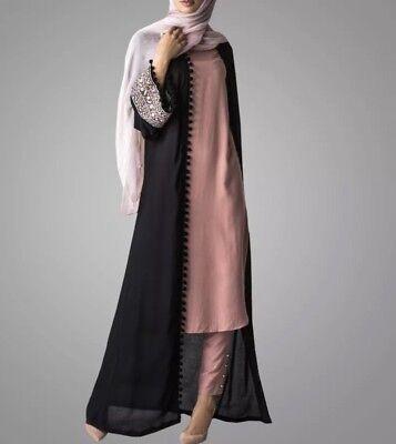 Long Kimono Jacket Open Front Abaya Black