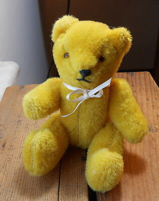 "Vintage 6"" Jointed Bear - Stiff Mohair, Jointed, Glass Eyes"