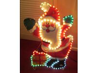 """Large decorative lighted FATHER CHRISTMAS with stand, 32"""" high x 18"""" wide, bright & colourful"""
