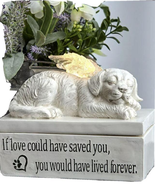 CAT or DOG Lighted Sentimental Pet Memorial Keepsake Boxes