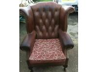 Leather Chesterfield Wing Back Arm Chair Brown Vintage