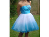 Blue and white ombré prom dress