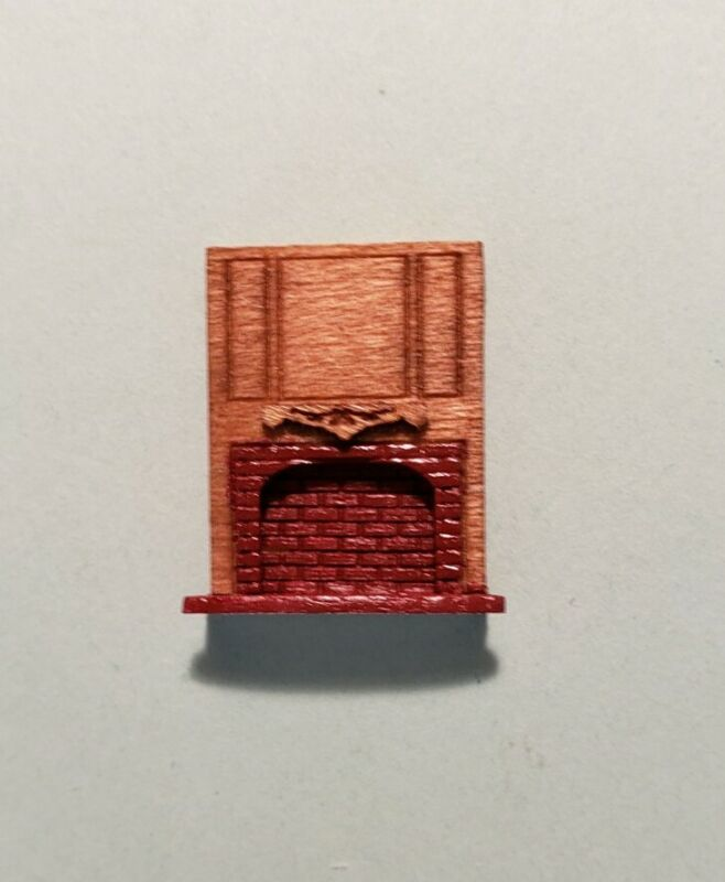 "Dollhouse Miniature 1:144 Scale Full Wood and Red Brick Fireplace ""ASSEMBLED"""