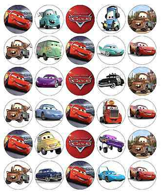 30x Cars Edible Cupcake Toppers Lightning Mcqueen Disney Wafer Fairy Cake Topper ()