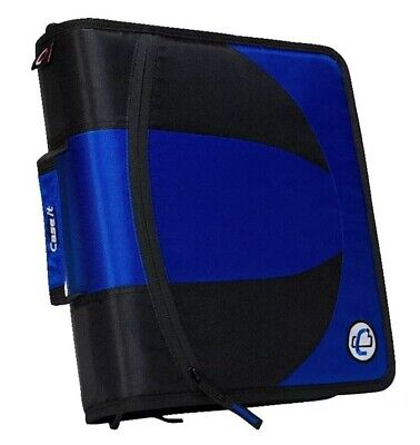 Case-it Dual Ring Zipper Binder 2 Separate D-rings 1-12 Inches Each Blue