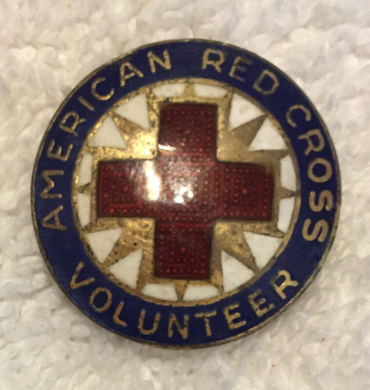 Vtg World War 2 WWII Era American Red Cross Volunteer Sterling Enamel Lapel Pin