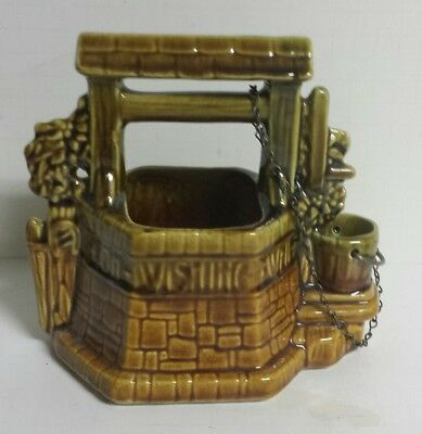 Vintage McCoy Oh Wishing Well Planter Green Brown USA MCM - Free Shipping!