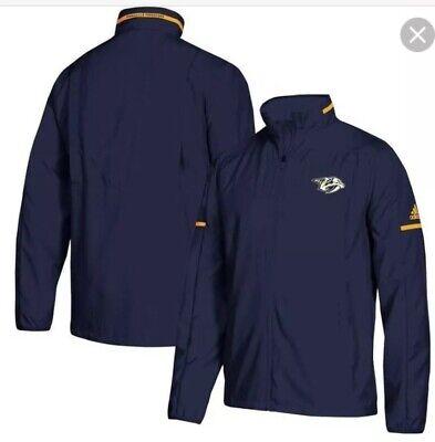 adidas MENS nashville predators rink full zip jacket blue large