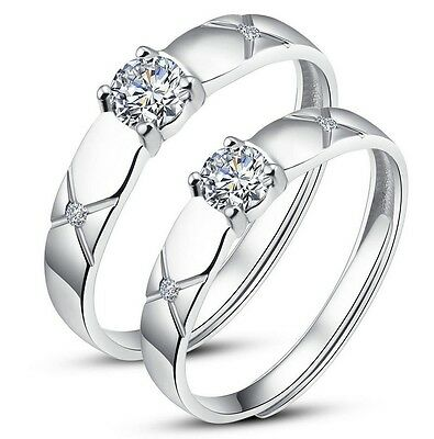 Couples White Gold Plated /Silver Adjustable Open Ring Solid set w/ CZ Fashion Jewelry