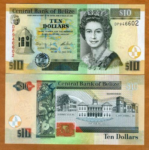 Belize, 10 Dollars, 2016, QEII, P-68e, UNC > New Sig., New Printer