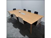 Sven Ligni Meeting / Dining Table, Power Point, Oak Legs & Top, 2.5m