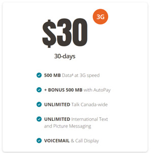 Unlimited Canada wide talk/text + 1GB on telus + free activation