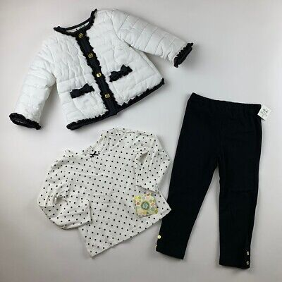 Little Me infant Girls 3 Piece Outfit Black White Polka Dot Size 24M NWT