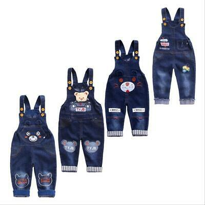 - Baby Boys Overalls Denim Pants Cartoon Jeans Kids Girls Jumpsuit Cute Trousers