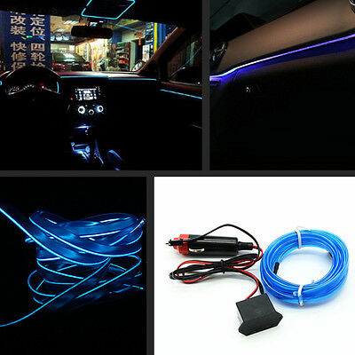 Car Door Atmosphere Light Decor 6.5Ft 12V EL Wire Blue Cold lamp Neon Light Line