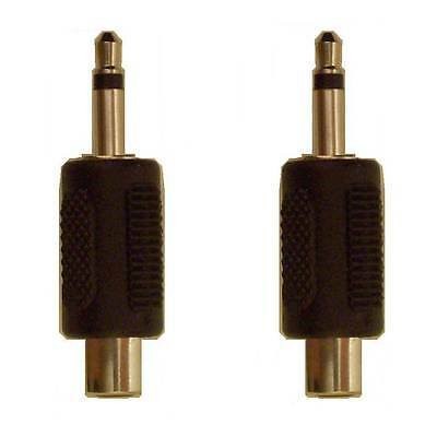 Adapter 1/8 3.5mm Male Mono Phone Plug to Female RCA Phono Jack ~ Lot of 2