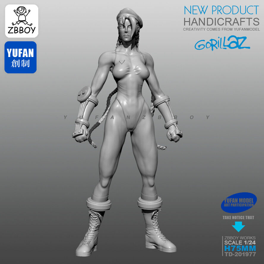 1//24 75mm model Anime Street Fighter Female Boxer Resin Soldier Unassembled