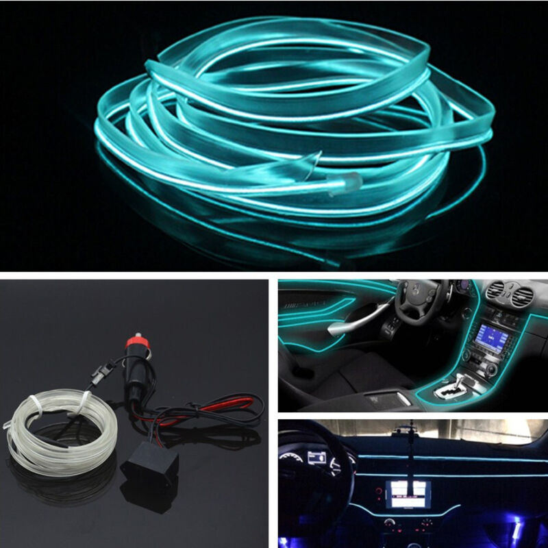 Car Interior Ice Blue 6.5ft Panel Neon Cold Light Strip Atmosphere Fluorescent