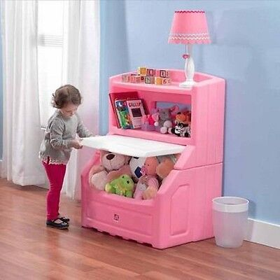 - Pink Bookcase Toy Storage Chest Box Girls Playroom Bedroom Toy Organizer Gift