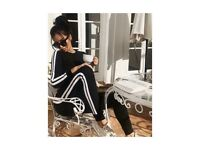 Women's black white side stripe tracksuit loungewear loungeset