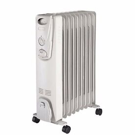 New 9 Fin 2KW Portable Electric Heater 2000W Oil Filled Radiator Thermostat Controlled Heating