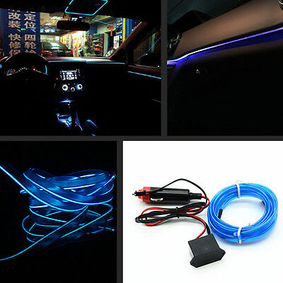 1x Car Blue Panel Neon Light Strip 2M Cold EL OLED Interior Trim Atmosphere Lamp