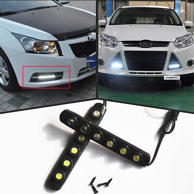 2x Universal White 6 LED Car 12V Daytime Running Light DRL Fog Day Driving LAMP
