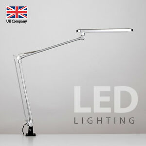 Modern Silver Adjustable Clamp Clip On LED Craft / Reading Table Desk Lamp Light