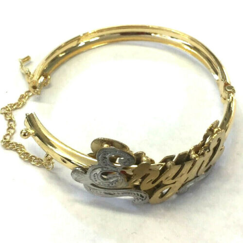 Baby Personalized 14K gold overly 3d id name Bracelet bangle