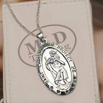 Protector Of Travelers With Inscription Holy Medallion Necklace Pendant FRENCH Silver Art Deco Saint Christopher Catholic Religious Medal