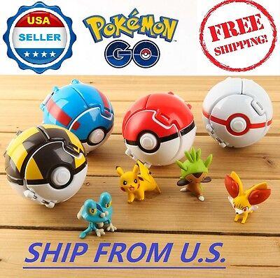 4 X Pokemon Throw Pop Poke Ball Cosplay Pop Up Elf Go Fighting Toy   Us Seller