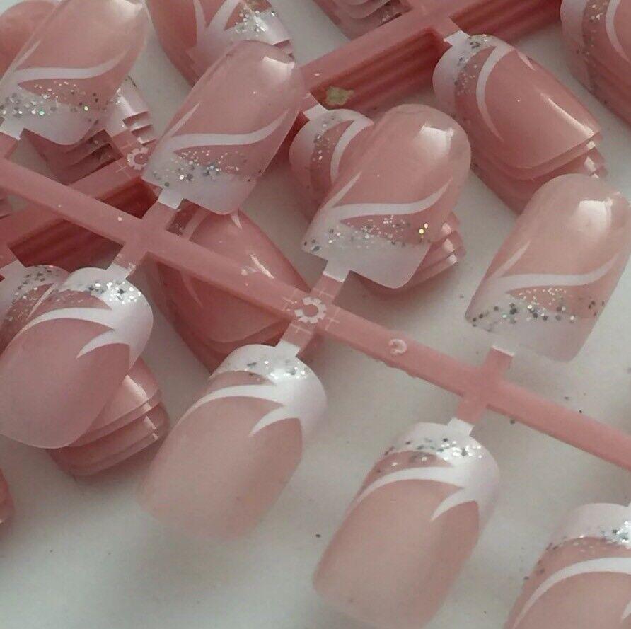72 Künstliche Fingernägel Full Size Cover Tips Glitzer Kunstnägel French Square