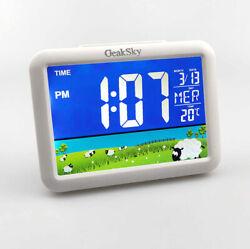 Geasky Digital LCD Desk Display Thermometer Calendar Alarm Clock - big sales now