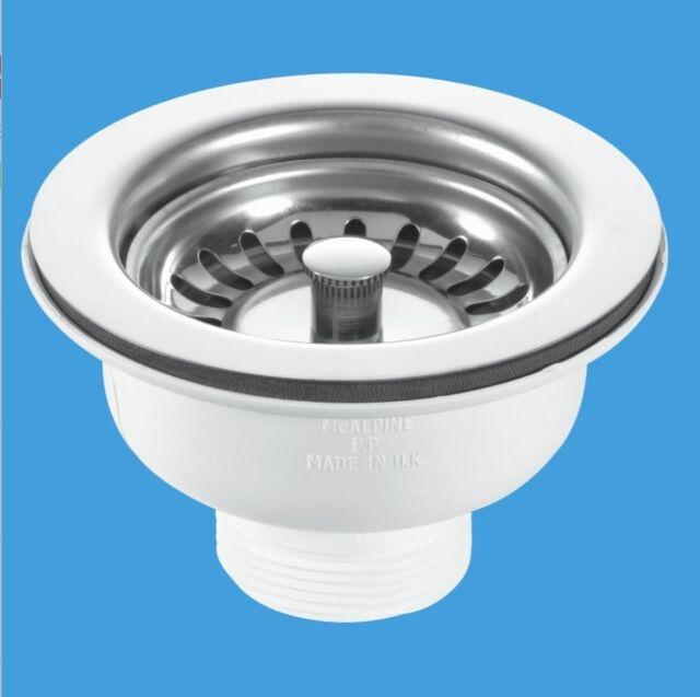 """Mcalpine Kitchen Sink Basket Strainer Waste 3.5"""" Stainless Steel BWSTSS"""