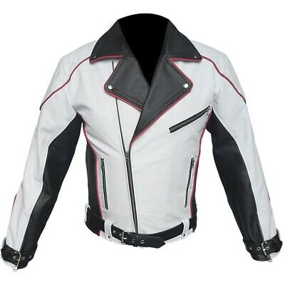 Mens Pure White and Black Leather Biker Jacket Motorcycle Motorbike Best