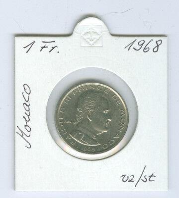 Monaco  1 Franc 1968 vorzüglich bis stempelglanz