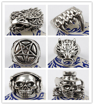 6 Style 316L Stainless Steel Men's Apache Headress Skull w/ Black CZ Eyes Ring ](Apache Headress)
