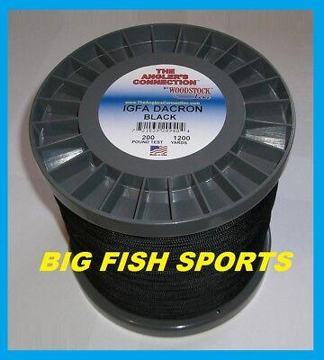 WOODSTOCK BRAIDED IGFA Fishing Line Black Color 200lb TEST 1200 YARDS LOW PRICE!