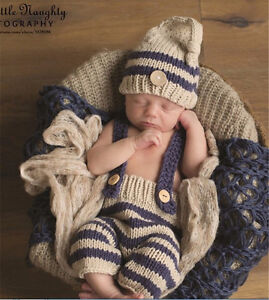 Newborn Baby Boys Crochet Knit Hat Infant Photo Photography Bib Pant Prop Outfit
