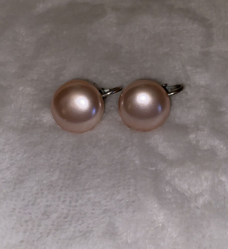 Vintage Faux Pink Pearl Round Silver Tone Clip On Earrings