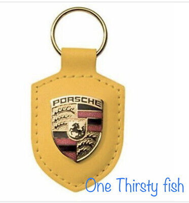 Yellow Porsche Crest Keyring Keychain Leather Gold New in Plastic Packaging