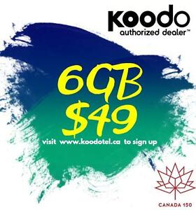 KOODO LTE 6GB $49/month 1/2/4/5/6/8/10 GB UNLIMITED TALK TEXT CANADA Plan - KoodoTel Ryan
