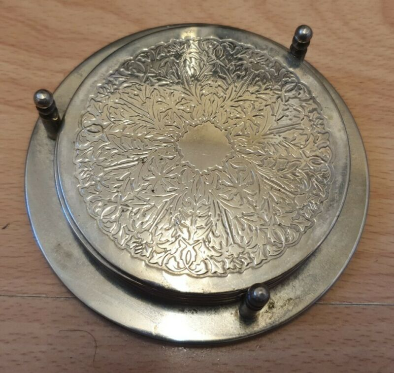 Antique Style Silver Plated 4 Engraved Round Coasters with Storage Caddy