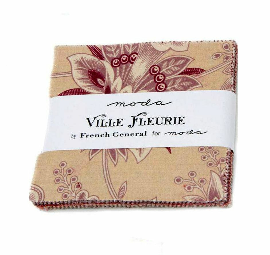 Charm Pack Moda, Ville Fleurie by French General, 42 Cuts, 100 Baumwolle