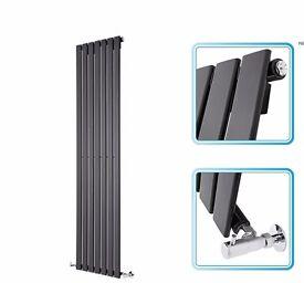 1600mm x 354mm - Black Gloss Upright Single Panel Designer Radiator, New