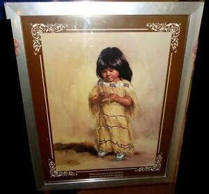 Aboriginal Girl by Vel Miller in Silver Frame